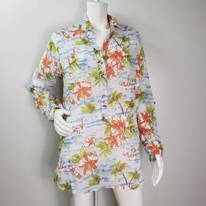 Fresh Produce Top Sz 12 Button Front Palm Trees